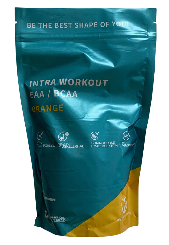 AM INTRA WORKOUT EAA / BCAA / WHEY Orange Beutel 500 gr