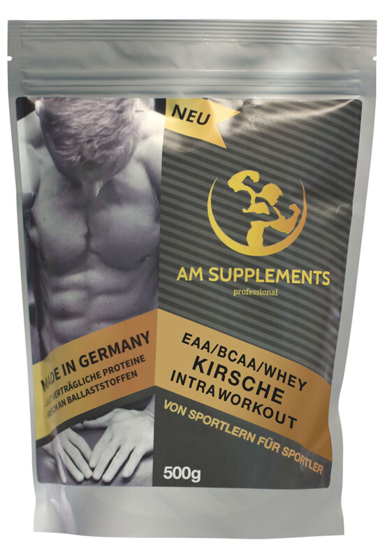 AM INTRA WORKOUT EAA / BCAA / WHEY Kirsche Beutel 500 gr